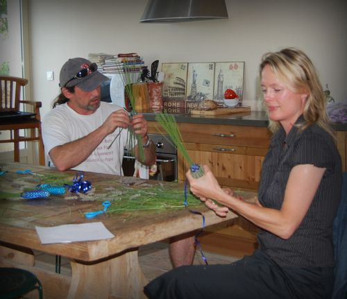 Jacques and Kristi weaving lavender