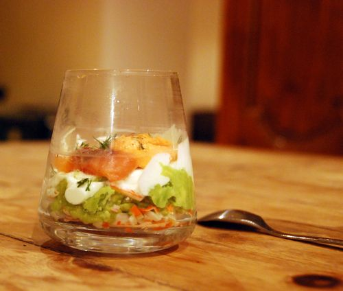 verrine surimi avocado crab smoked salmon