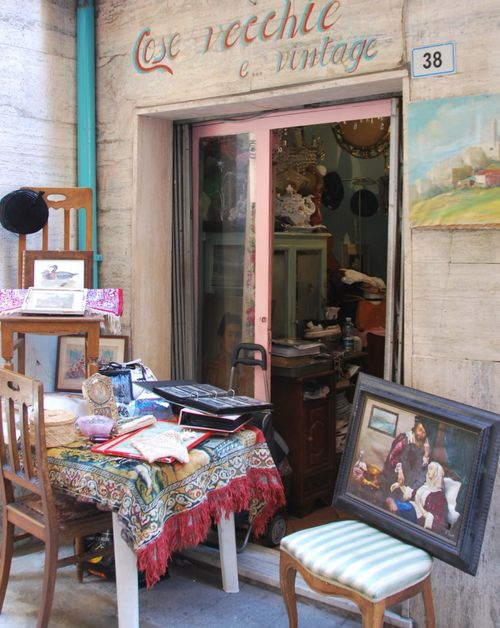 Brocante or antiques shop in St Remo Italy