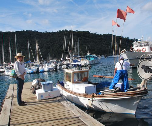 Arrivng at the harbor of Port Cros. No, we didn't travel via fishing boat :-)