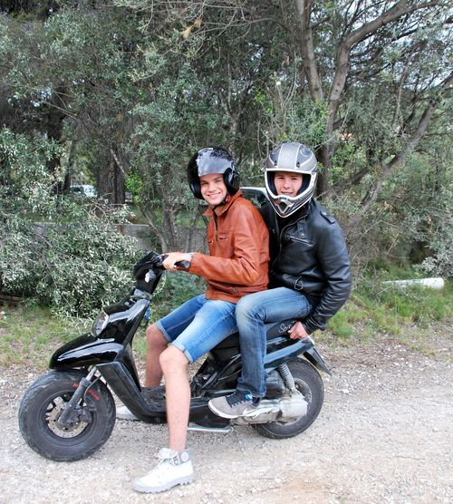 """""""Max and Paul"""" www.french-word-a-day.com French teenager motorcycle helmut leather jacket (c) Kristin Espinasse"""