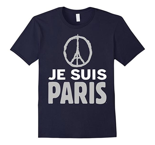 Je suis paris France Eiffel tower peace t-shirt