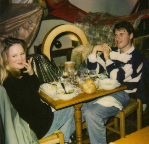 Falling in love with France, the language, and him....Kristi and Jean-Marc in 1992 at the Cloche aux Fromages in Marseilles