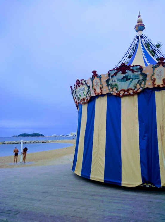 Merry-go-round in la ciotat at the beach
