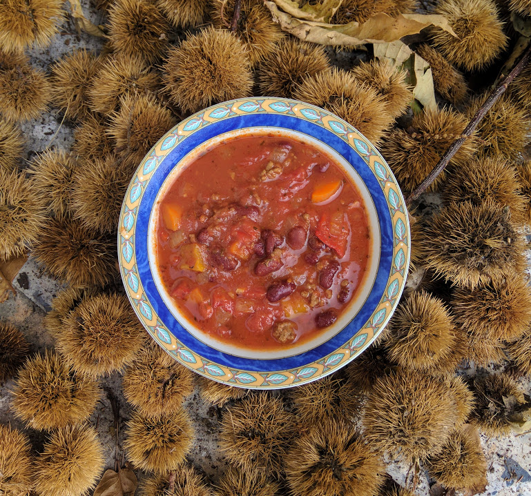 Spicy Chili basta on a bed of Corsican chestnuts or chataignes