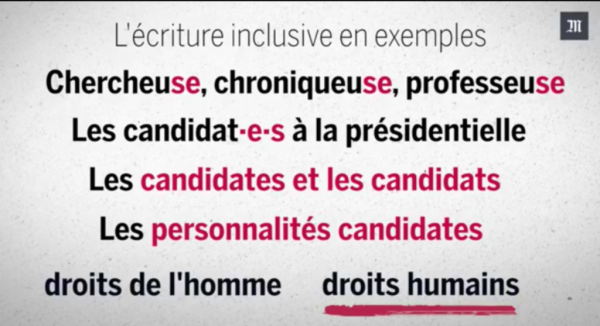Screenshot from Le Monde article on ecriture inclusive in french language