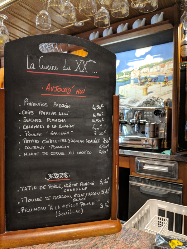 Ardoise or chalkboard menu at XX eme siecle wine and tapas bar in Cassis France