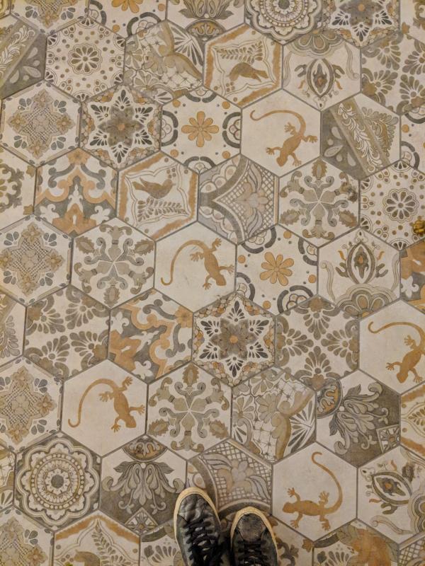 Cement church tiles in la ciotat France salamander