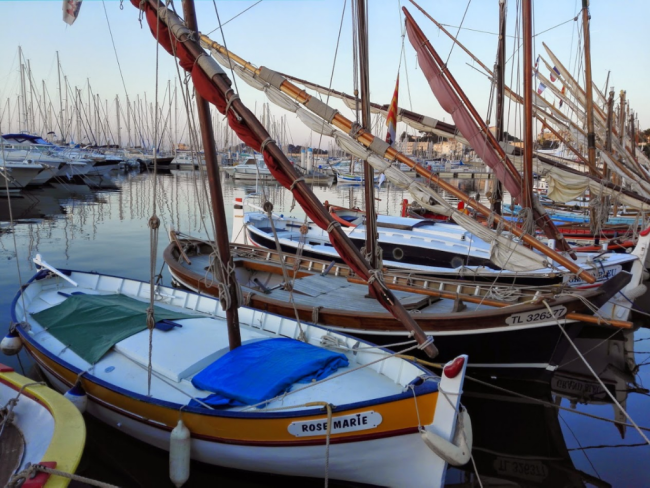 classic wooden fishing boat pointu in the port of Bandol France Provence Cotes d'Azur