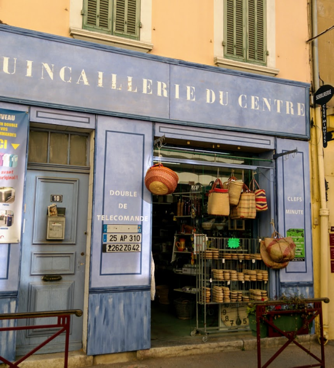 Espadrilles and wicker baskets at the quincaillerie in st cyr-sur-mer