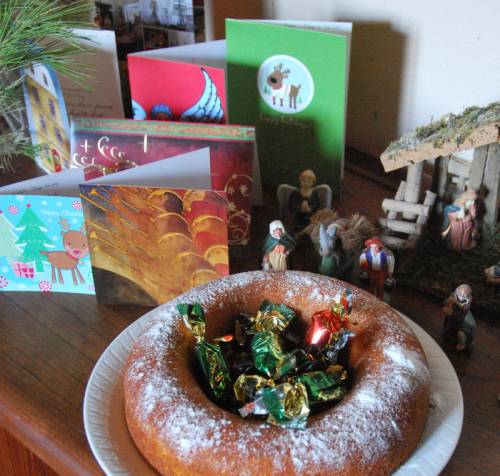 French yogurt cake or gateau yaourt and creche with santons