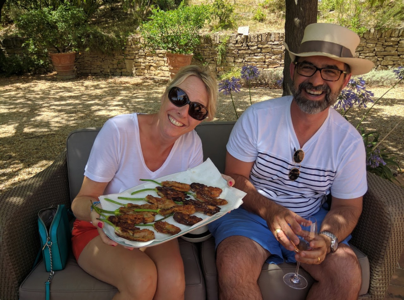 Genevieve and Jean-Philippe at Chateau de Pibarnon with fleurs de courgettes