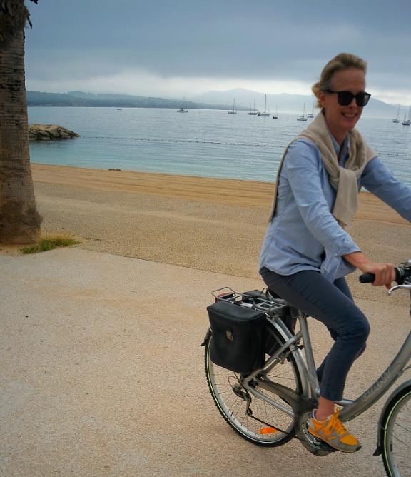 Kristi riding bicycle