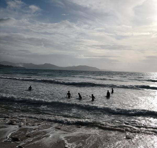 Wearing wetsuits to walk in the winter sea in La Ciotat