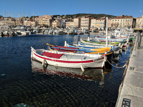 Old port and fishing boats or pointus in La Ciotat France on the Mediterranean Sea