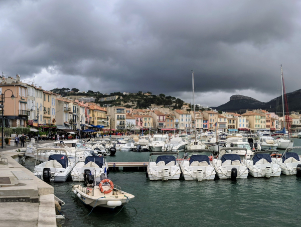 Port of cassis france colorful buildings waterfront