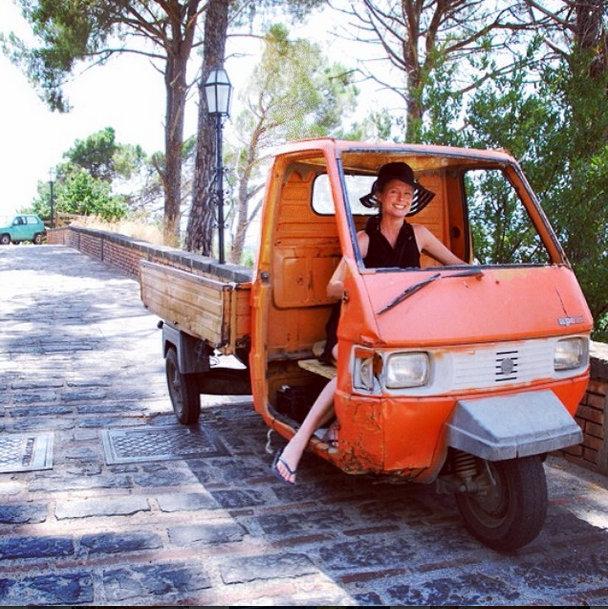 Kristi driving ape truck