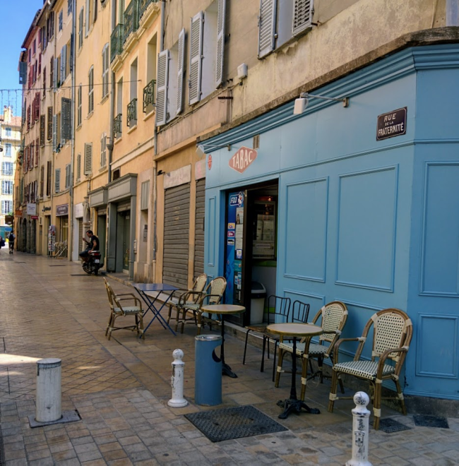 Toulon Rue de la Fraternite Tabac bistro chairs city street