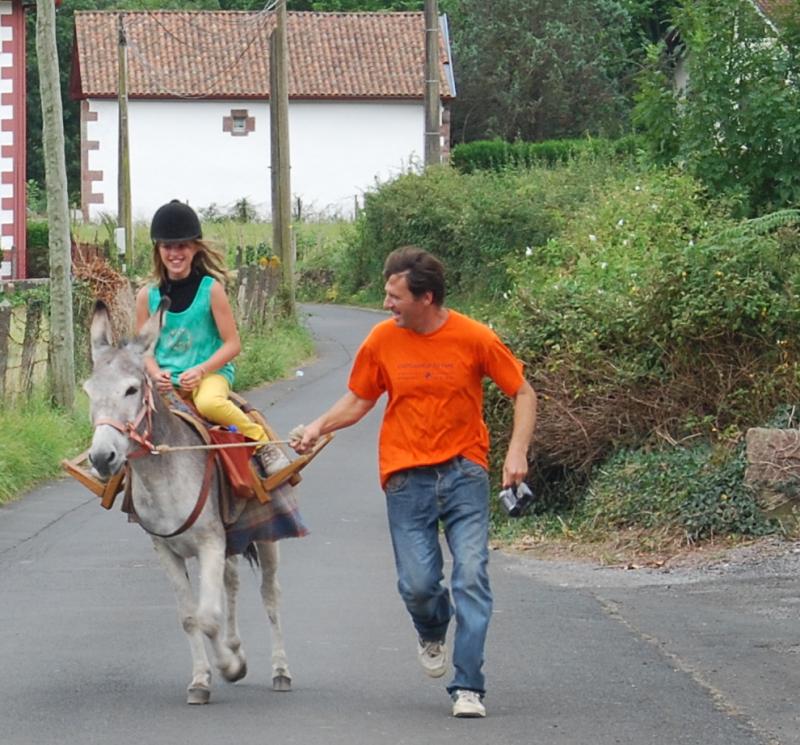 Jackie riding a donkey in Southwest France