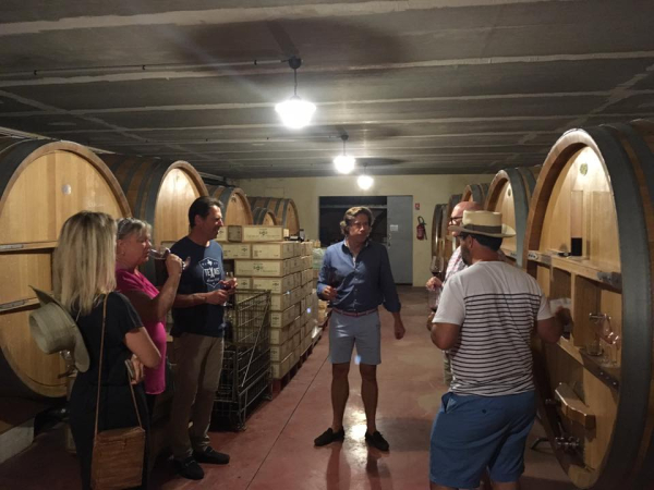 Wine barrels Eric de Saint Victor and our group at Chateau de Pibarnon photo Genevieve Guy