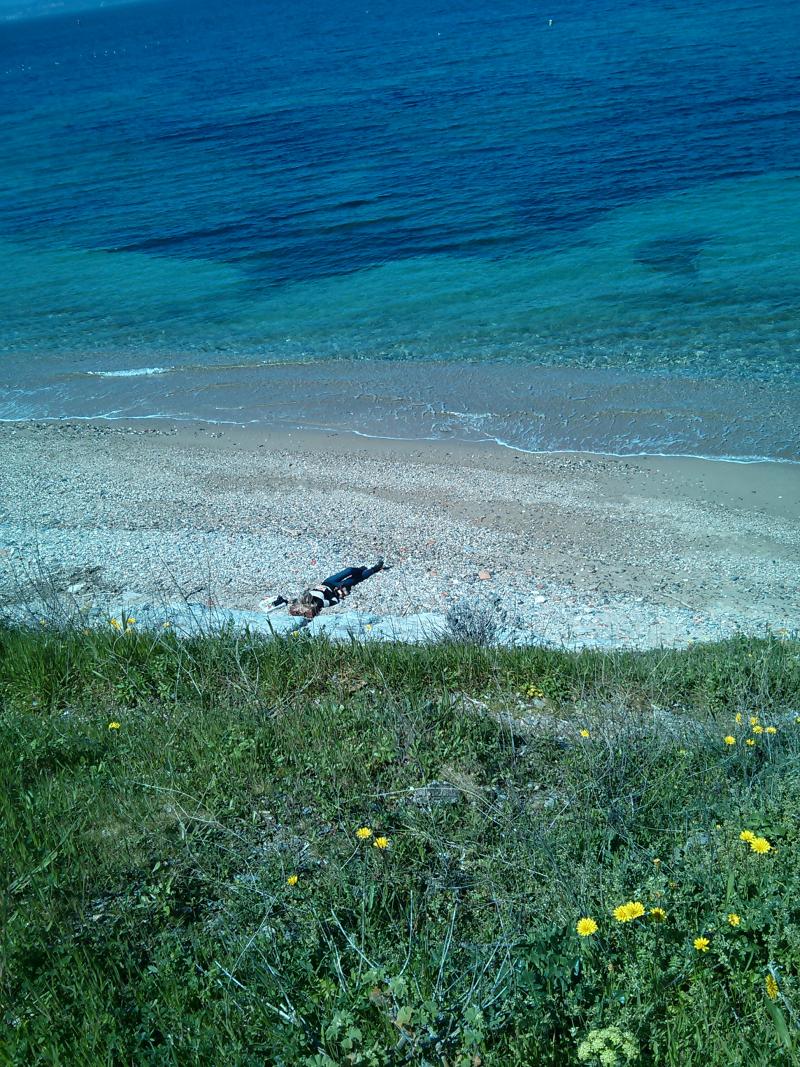 Kristi on beach island of porquerolles