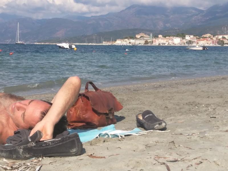 La sieste - even mr sacks had a nap at the beach on Corsica