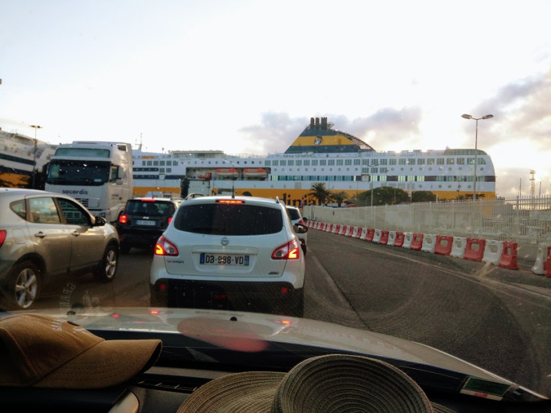 Driving onto the Corsica ferry