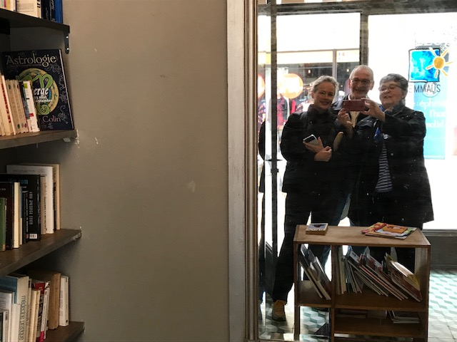 Kristi Ken Wendy Emmaus bookstore Cafe de l Horloge