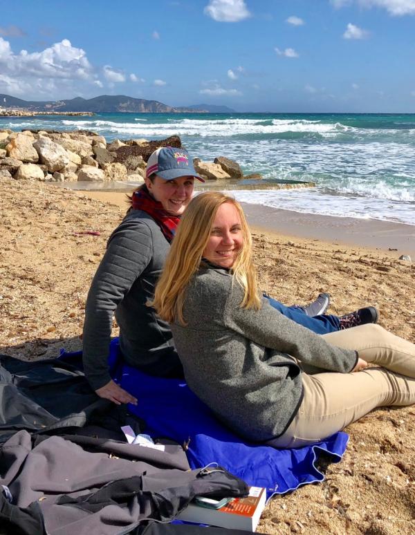 Erin and miranda on the beach in la ciotat