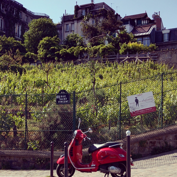 Cherry red vespa in Montmartre