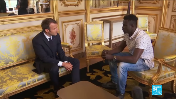 French president Macron and Mamoudou Gassama