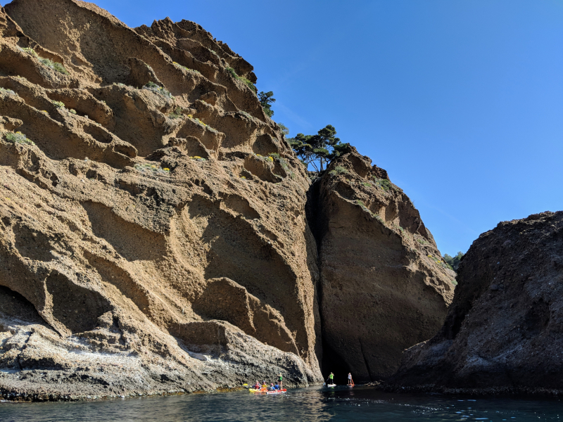 Grotte or cave people on paddle boards mediterranean sea  la ciotat cassis