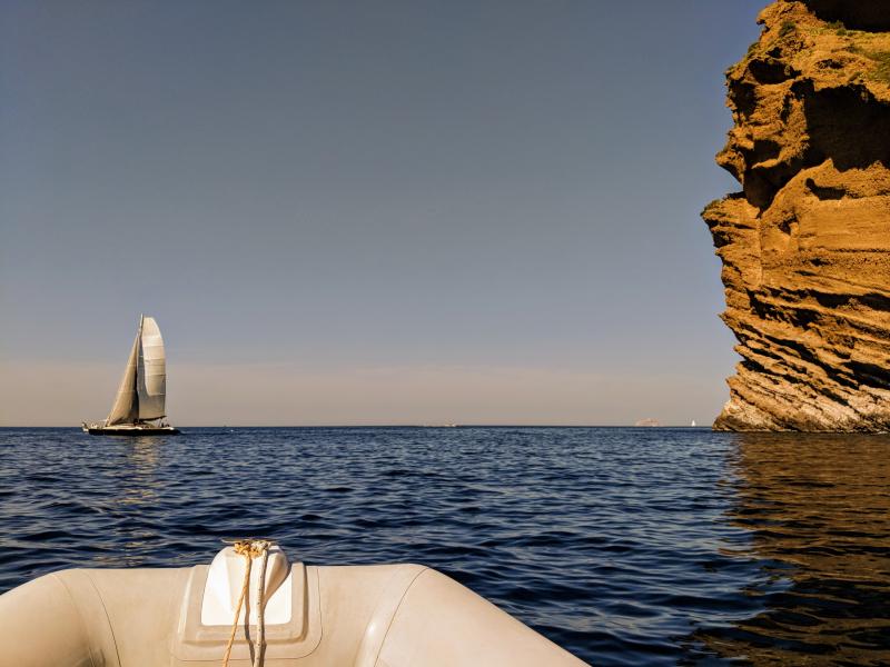 Sailboat on the mediterranean france calanque cassis la ciotat semi-rigide