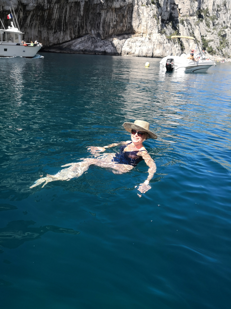 Swimming in the calanque en vau near marseilles