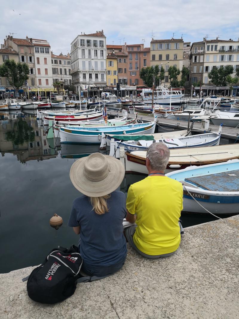 Kristi and Dad at Le Vieux Port in La Ciotat