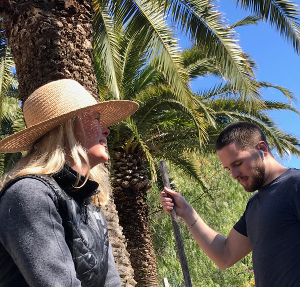Kristi and max palm tree gardening hat