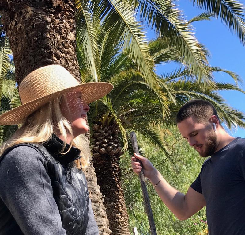 Kristi and max palm tree gardening hat