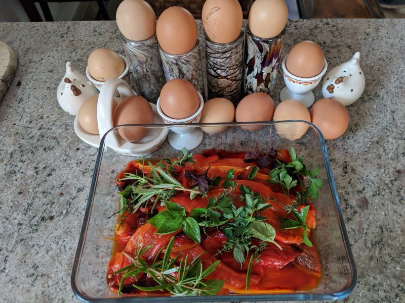 Eggs and roasted peppers
