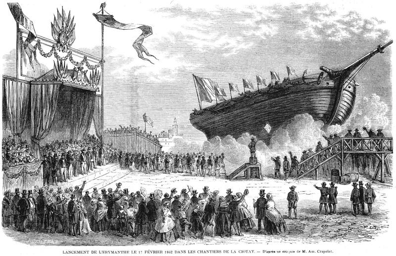 L'Illustration_1862_gravure_Lancement_de_l'Erymanthe_le_17_février_1862_dans_les_chantiers_de_La_Ciotat