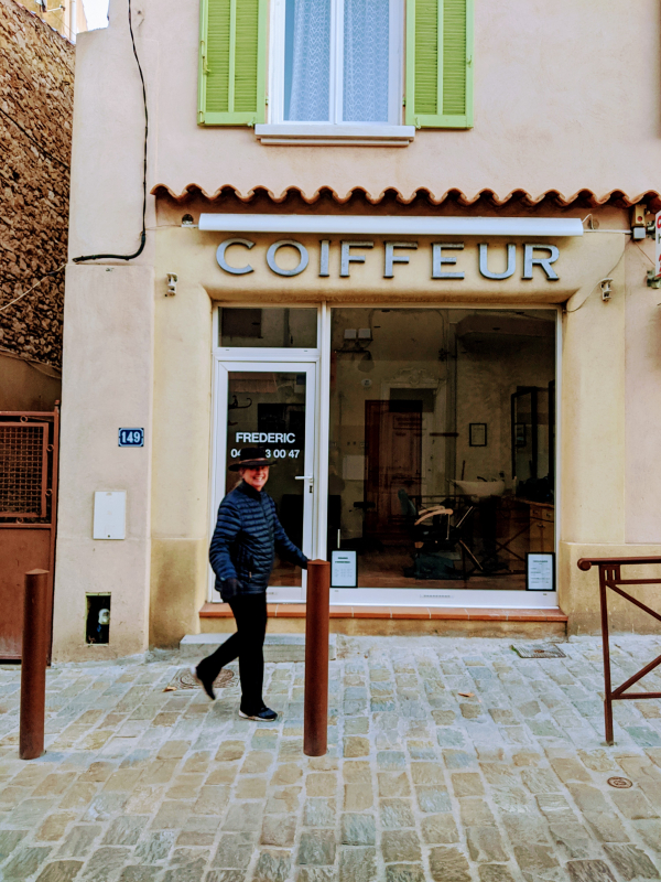 Jules my mom in front of coiffeur in la ciotat france
