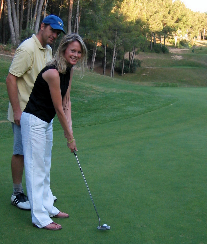 Jean-marc teaching kristi golf at golf de dolce fregate provence near bandol