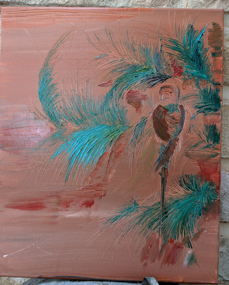 Jackie oil painting parrot palm tree