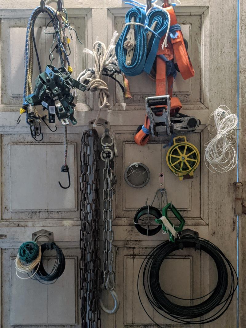 Cords  chains old door