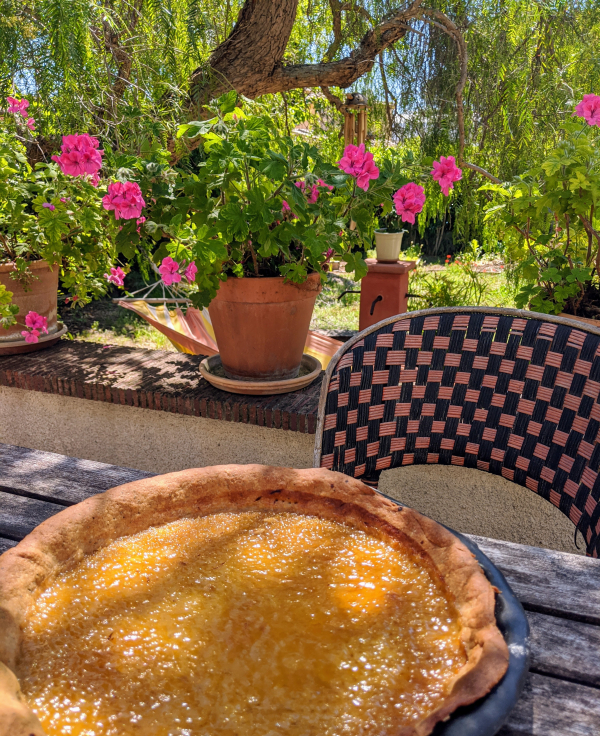 lemon pie tart shortcrust pastry recipe geraniums pepper tree bistro chair