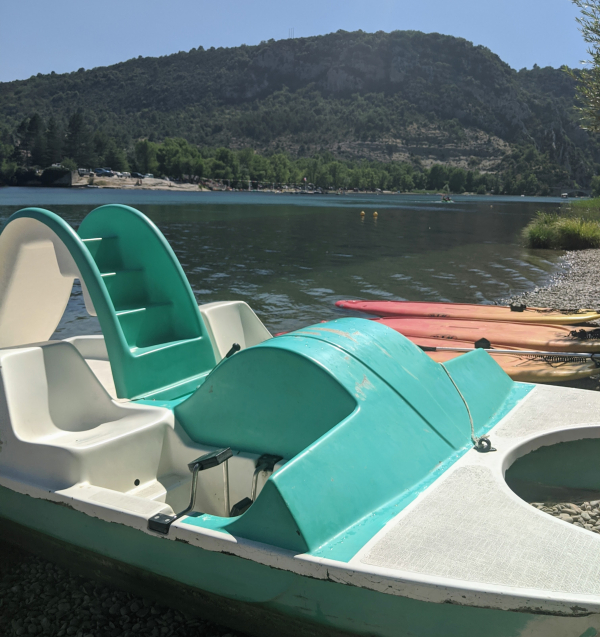 Paddle boat with slide