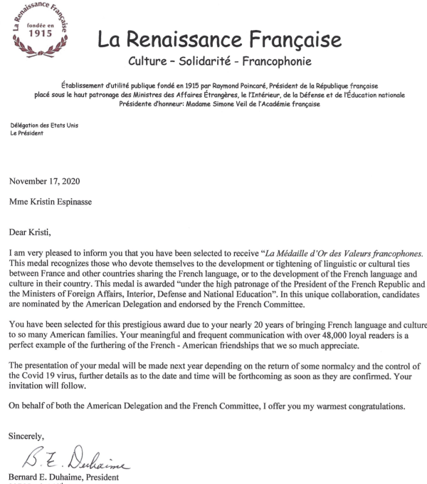 Letter from the Renaissance Francaise