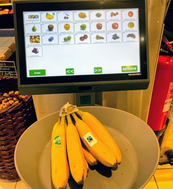 Touch screen and french produce scale for weighing fruits  vegetables