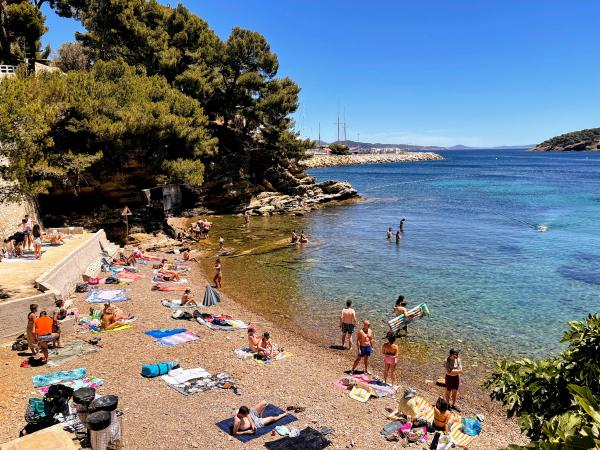 Mediterranean pebble Beach at Plage Mugel La Ciotat France