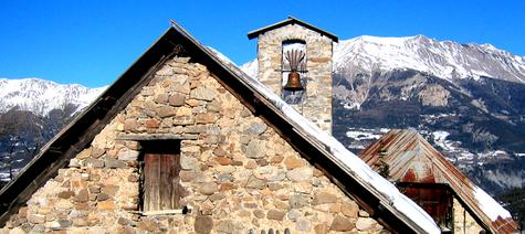 stone chapel in Sauze, France (c) Kristin Espinasse